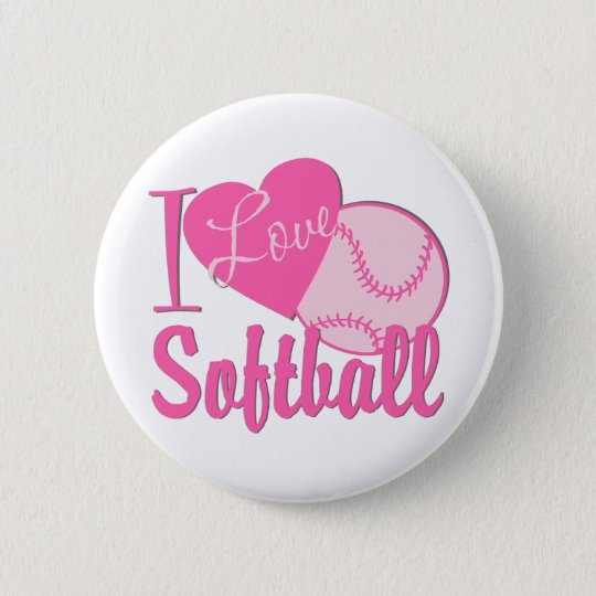 I Love Softball Pink Button