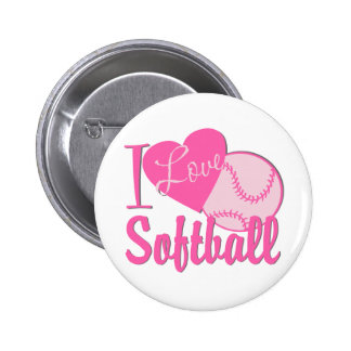 I Love Softball Pink Button