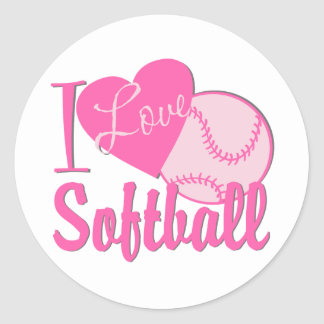 I Love Softball Pink Classic Round Sticker