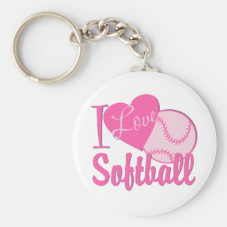 I Love Softball Pink Keychain