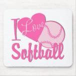 I Love Softball Pink Mousepads