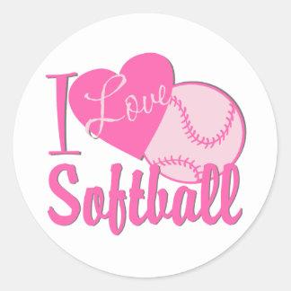 I Love Softball Pink Round Sticker
