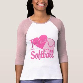 I Love Softball Pink T-Shirt