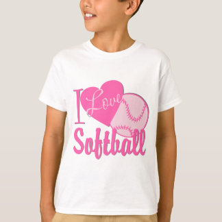 I Love Softball Pink T-Shirt