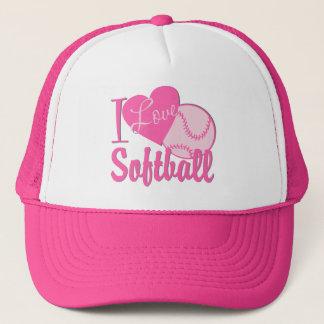 I Love Softball Pink Trucker Hat