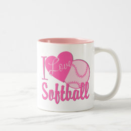 I Love Softball Pink Two-Tone Coffee Mug