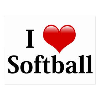 I Love Softball Postcard