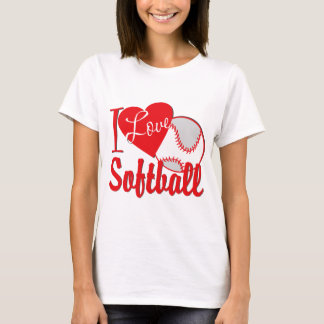 I Love Softball Red T-Shirt