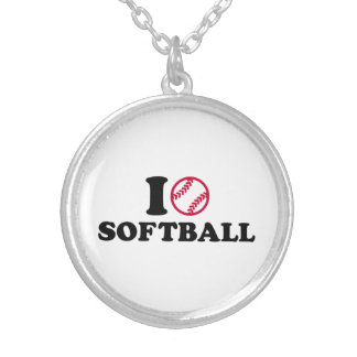 I love Softball Silver Plated Necklace