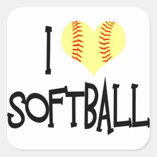 I love softball square sticker