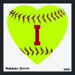 "I Love Softball Wall Decal<br><div class=""desc"">Inspirational Softball Decal</div>"