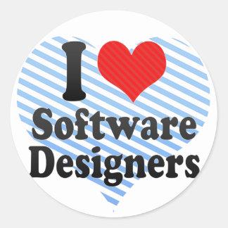 I Love Software Designers Round Sticker