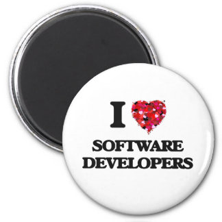 I love Software Developers 2 Inch Round Magnet