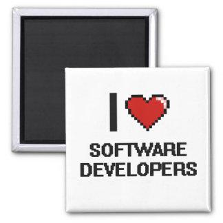 I love Software Developers 2 Inch Square Magnet