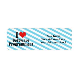I Love Software Programmers Custom Return Address Label