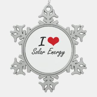 I Love Solar Energy Snowflake Pewter Christmas Ornament