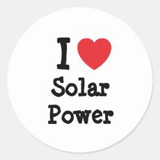 I love Solar Power heart custom personalized Round Stickers