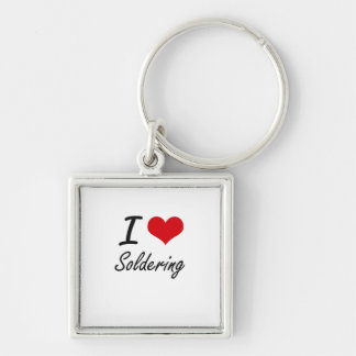 I love Soldering Silver-Colored Square Keychain