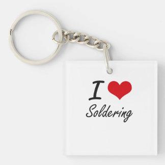 I love Soldering Single-Sided Square Acrylic Keychain