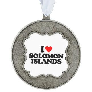 I LOVE SOLOMON ISLANDS SCALLOPED PEWTER ORNAMENT