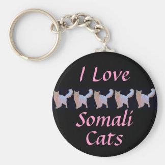 I Love Somali Cats Keychain