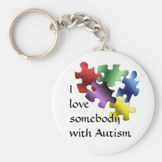 I love somebody with Autism Basic Round Button Keychain