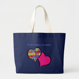 I love somebody with autism large tote bag
