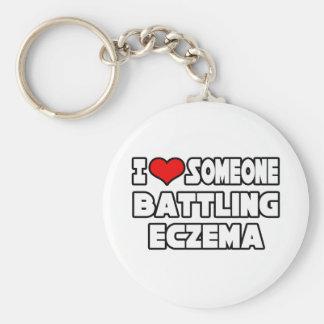 I Love Someone Battling Eczema Basic Round Button Keychain