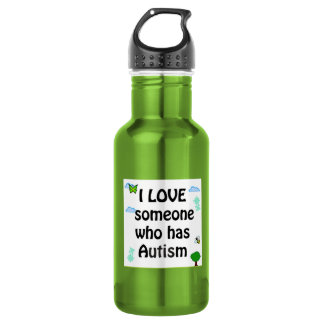 I love someone who has autism 18oz water bottle