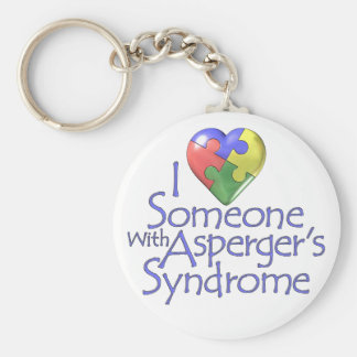 I Love Someone With Asperger's Basic Round Button Keychain