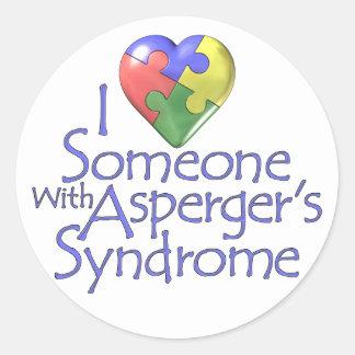 I Love Someone With Asperger's Classic Round Sticker