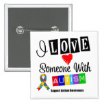 I Love Someone With Autism 2 Inch Square Button