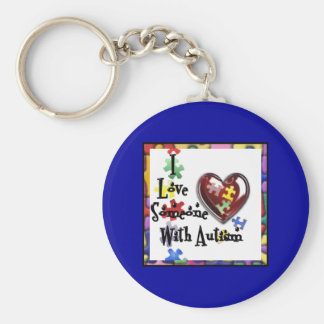 I love someone with Autism Basic Round Button Keychain