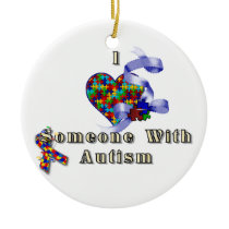 I love someone with autism ceramic ornament
