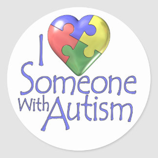 I Love Someone With Autism Classic Round Sticker