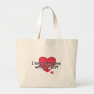 I Love Someone With Autism Large Tote Bag