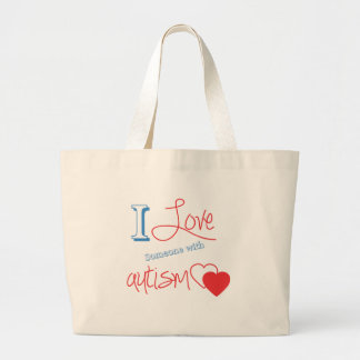 I love someone with autism! large tote bag
