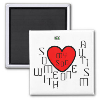 i love someone with autism-my son 2 inch square magnet