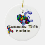 I love someone with autism christmas tree ornaments