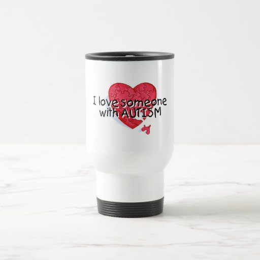 I Love Someone With Autism (Puzzle Heart) 15 Oz Stainless Steel Travel Mug