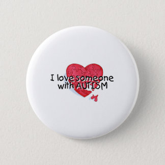 I Love Someone With Autism (Puzzle Heart) Pinback Button