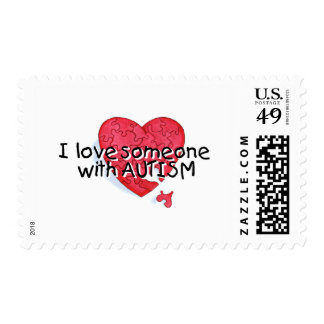I Love Someone With Autism (Puzzle Heart) Postage