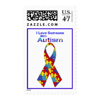 """I Love Someone With Autism"" (Puzzle Lettering) Postage"