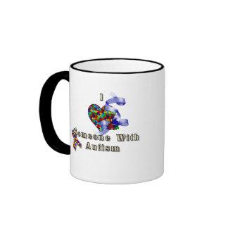 I love someone with autism ringer coffee mug