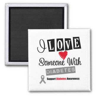 I Love Someone With Diabetes 2 Inch Square Magnet