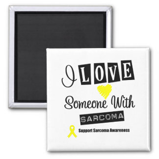 I Love Someone With Sarcoma 2 Inch Square Magnet