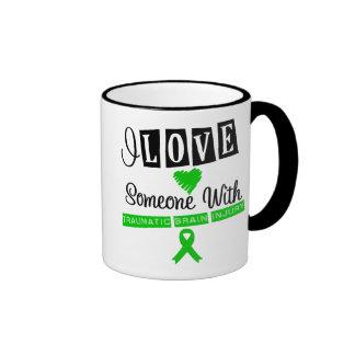 I Love Someone With Traumatic Brain Injury Ringer Coffee Mug