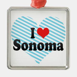 I Love Sonoma Square Metal Christmas Ornament