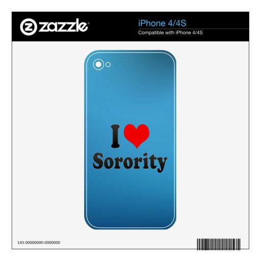 I love Sorority Decal For iPhone 4S