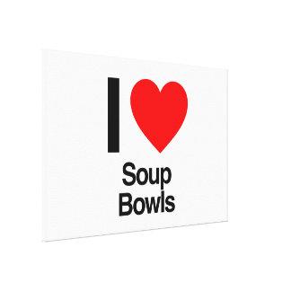 i love soup bowls canvas print